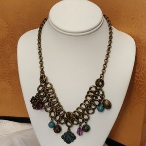 Boho style charm necklace in antique gold